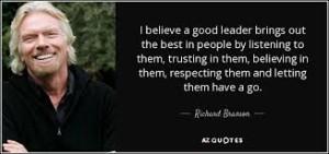 Richard BRANSON quote on leaders